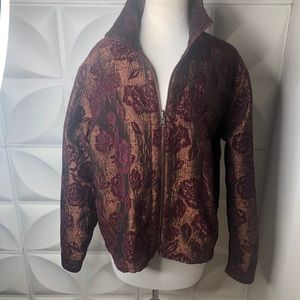 Reversible Large Womens Wine and Gold Jacket